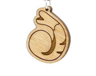 Shrimp Emoji Keychain - Prawn Emoji Keyring - Shrimp Emoji Carved Wood Charm