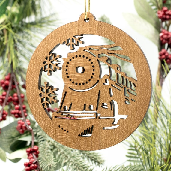 train christmas ornament locomotive filigree engraved cherry etsy