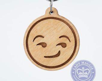 Smirking Emoji Wood Keychain - Half Smiling Face Emoji Carved Wooden Key Ring - Flirting Emoji Engraved Charm - Suggestive Smile Emoji