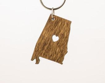 Alabama Wooden Keychain - AL State Keychain - Wooden Alabama Carved Key Ring - Wooden AL Charm - Alabama State Keyring - State of Alabama