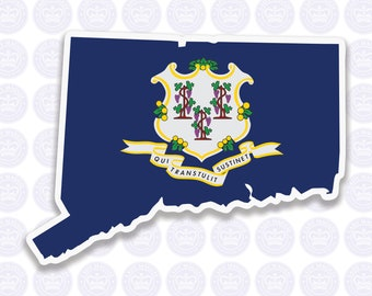 Connecticut Decal - CT State Flag Decal - Connecticut State Bumper Sticker - State of Connecticut Decal - CT Flag Sticker - Connecticut