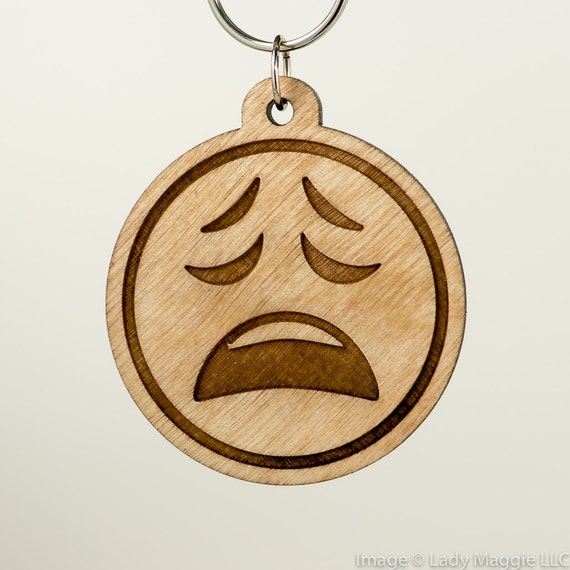 Weary Face Emoji Wooden Keychain - Weary Emoji Carved Wood Key Ring -  Anguished Face Emoji