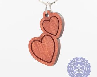 Two Hearts Emoji Wood Keychain - Two Red Hearts Emoji Carved Wood Key Ring - Red Double Hearts Engraved Charm - Best Friends Emoji