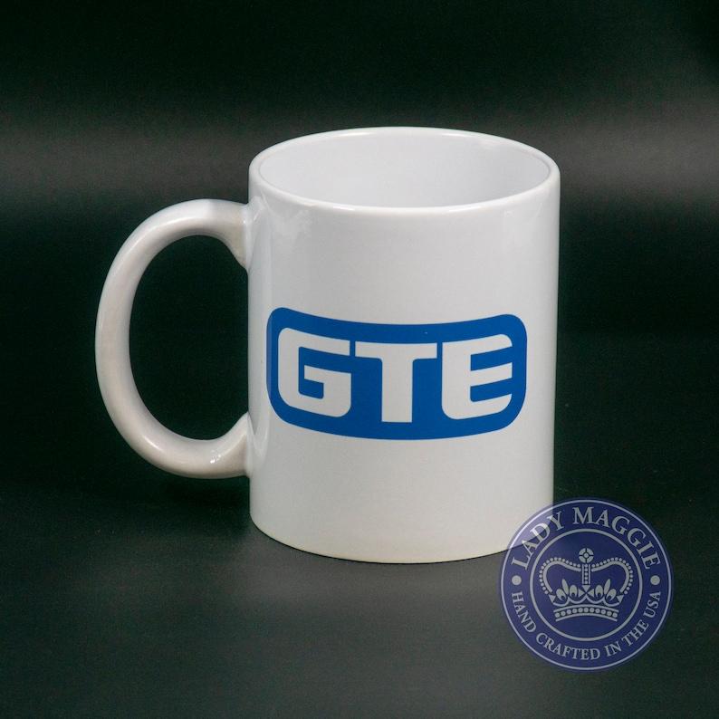 GTE Vintage Logo Mug with Free Decal  Retro GTE Coffee Cup  image 0