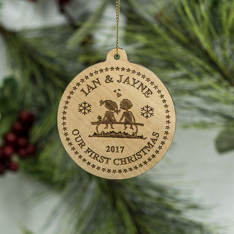 Personalized Couple's First Christmas Ornament  Couple on image 0
