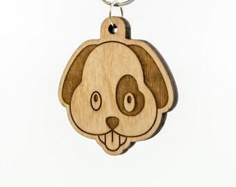 Dog Emoji Keychain - Puppy Carved Wood Key Ring - Dog Face Emoji Wooden Engraved Charm