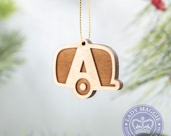 Airstream Camper Christmas Ornament - Camping Trailer - Airstream Travel Trailer Wood Charm - Airstream Camper Engraved Ornament