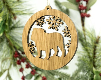 Bulldog Christmas Wood Ornament - Bulldog Silhouette Cut Wooden Tree Decoration - White Oak Bulldog Ornament - Carved Wood Dog Ornament