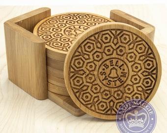 Bell System Manhole Cover Mandala Logo Vintage Bamboo Coasters