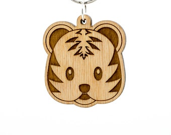 Tiger Face Emoji Keychain - Cute Tiger Emoji Carved Wood Key Ring - Tiger Emoticon Engraved Charm - Cute Tiger Emoji - Timid Tiger Emoji
