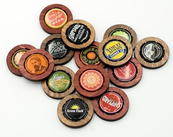 Bottle Cap Checkers Pieces - Wooden Bottle Cap Tokens - Beer Cap Checkers Pieces