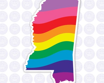 Mississippi Rainbow Flag Decal - MS State LGBTQ Flag Decal - Mississippi State Bumper Sticker - State of Mississippi Gay Pride Decal