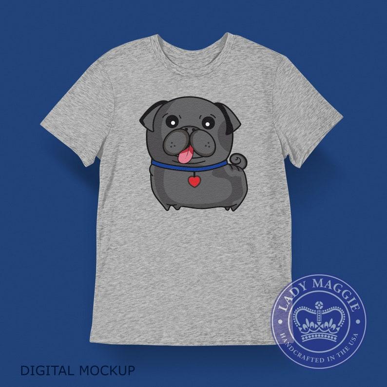 Black Pug T-Shirt  Black Pug Dog Tee Shirt  Black Pug Tongue image 0