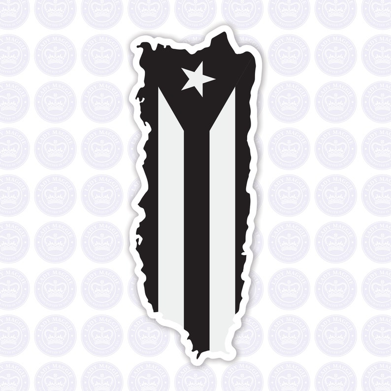 Puerto Rico Resistance Flag Decal  Puerto Rico Black & White image 0