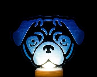 Pug Dog Night Light - Puggy LED Nightlight - Pug Night Light - Pug Puppy Nightlight - Doggy Night Light - Engraved Pug Nightlight
