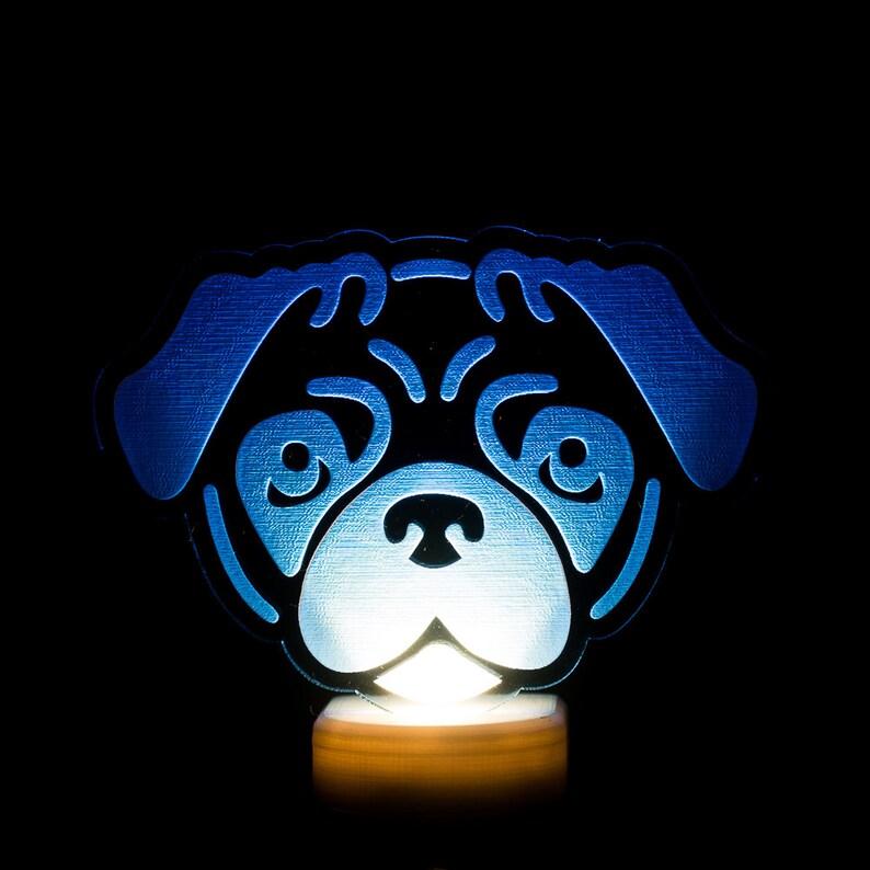 Pug Dog Night Light  Puggy LED Nightlight  Pug Night Light  image 0