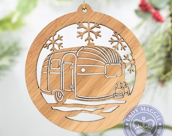 Airstream Christmas Ornament - Airstream Silhouette with Snowflakes Christmas Ornament - Camping Ornament - RV Camper Ornament