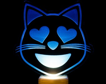 Cat Heart Eyes Emoji Night Light - Smiling Cat Face with Heart Shaped Eyes Emoji LED Nightlight - Loving Cat Emoji Light - Cat Night Light