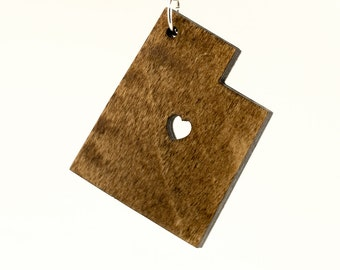 Utah Wooden Keychain - UT State Keychain - Wooden Utah Carved Key Ring - Wooden UT Charm