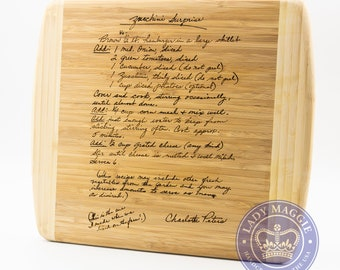 Personalized Family Recipe Cutting Board 13.5x11.5 - Mom Gift Custom Engraved Handwriting Recipe Board - Handwritten Recipe Moms Recipe Gift