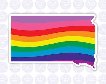 South Dakota Rainbow Flag Decal - SD State LGBTQ Decal - South Dakota State Bumper Sticker - State of South Dakota Gay Pride Decal - LGBTQ