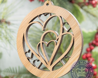 Hearts Together Christmas Ornament - Intertwined Hearts Christmas Tree Ornament - Foster Family Ornament - Adoption Ornament - New Family