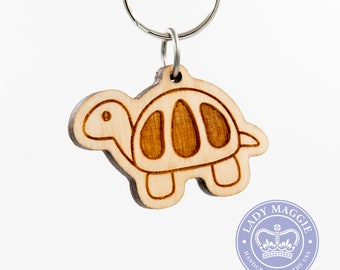 Turtle Shell Emoji Keychain - Turtle Emoji Carved Wooden Key Ring - Turtle Emoticon Engraved Charm - Turtle Emoji - EmojiOne Version Turtle