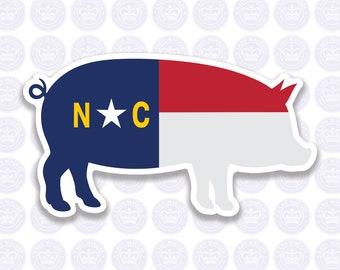 Pig North Carolina Decal - NC Hog Flag Decal - North Carolina Pig Bumper Sticker - State of NC Decal - NC Flag Decal - Piglet - Sow - Pork