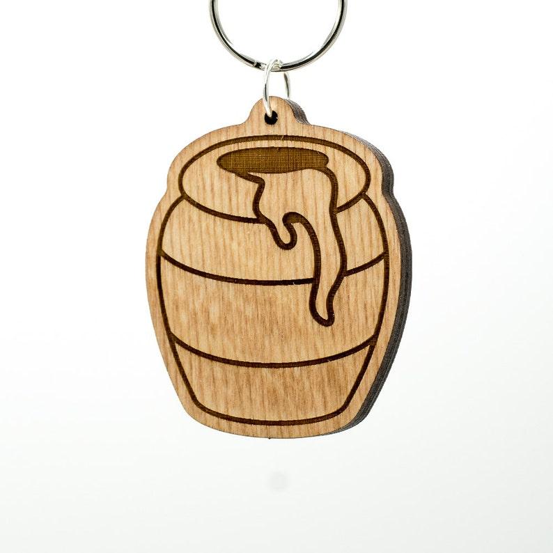 Honey Pot Emoji Wood Keychain - Honey Emoji - Honey Bee Emoji - Wooden  Honey Pot Emoji Carved Wood Key Ring - Pot Emoji