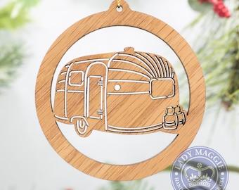 Airstream Silhouette Christmas Ornament - Airstream Travel Trailer Christmas Ornament - Camping Ornament - RV Camper Ornament
