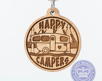 Happy Campers Pop-Up Camper Keychain - Pop Up Camper - Camping Trailer Keychain - Camper Van Key Ring - Camper Travel Trailer Engraved Charm