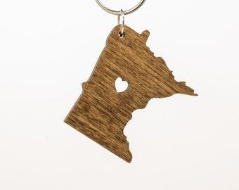 Minnesota Wooden Keychain - MN State Keychain - Wooden Minnesota Carved Key Ring - Wooden MN Charm - State of Minnesota Keychain