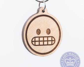 Gritting Face Emoji Keychain - Grimacing Emoji Keyring - Gritting Teeth with Open Eyes Carved Wood Charm