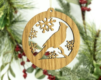 Cardinal Christmas Wood Ornament - Cardinal Silhouette Laser Cut Wooden Tree Decoration - White Oak Bird Ornament - Ornithology Ornament