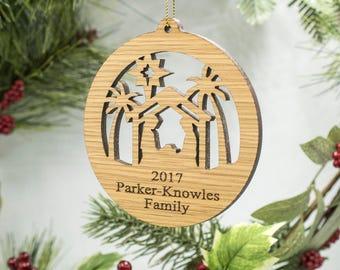 Nativity Scene Christmas Ornament - Personalized Nativity Ornament - Laser Cut Christmas Nativity Ornament - Custom Engraved Family Ornament