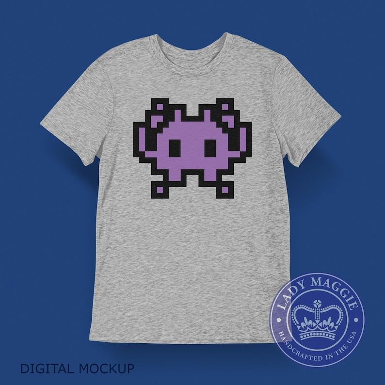 Alien Space Invader T-shirt  Purple Alien Monster Emoji Shirt image 0