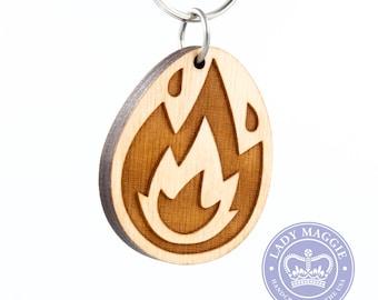 Fire Emoji Keychain - Wooden Flame Emoji Carved Wood Key Ring - Burning Icon Engraved Charm