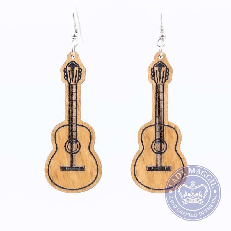 Guitar Earrings  Acoustic Guitar Earrings  Musical image 0