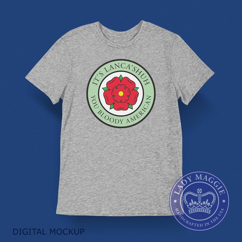 Lancashire T-shirt  British Expat Shirt  Red Rose of image 0