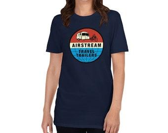 Retro Airstream Travel Trailers T-Shirt - Vintage Airstream Bambi Ad Short-Sleeve Unisex T-Shirt - Airstream Camper Shirt
