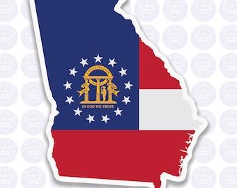 Georgia Decal - GA State Flag Decal - Georgia State Bumper Sticker - State of Georgia Decal - GA Flag Sticker - Georgia Yeti Sticker