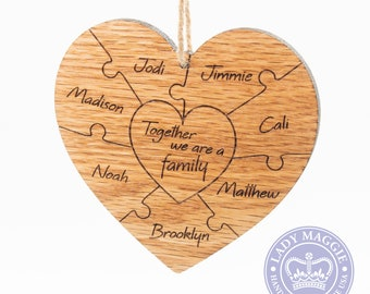 Personalized Family Puzzle Ornament - Solid Oak Double Sided Custom Mother's Day Ornament Adoption Blended Family Foster Parent Mom Stepmom