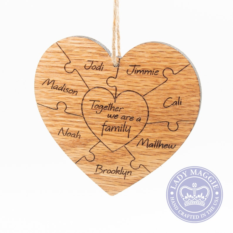 Personalized Family Puzzle Ornament  Solid Oak Double Sided image 0
