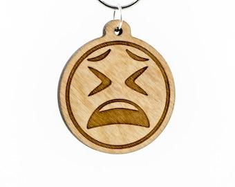 Tired Face Emoji Wooden Keychain - Tired Emoji - Weary Face Emoji - Tired Face - Weary Faced Emoji - Exhausted Emoji - Fed Up Emoji Charm