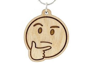 Thinking Face Emoji Keychain - Hmmm Emoji - Thinker Emoji Carved Wood Key Ring - Throwing Shade Emoji Wooden Engraved Charm