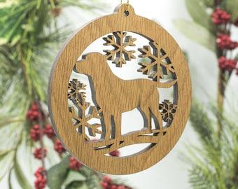 Labrador Christmas Wood Ornament - Lab Dog Silhouette Cut Wooden Tree Decoration - Labrador Retriever Ornament - Pet Dog Ornament
