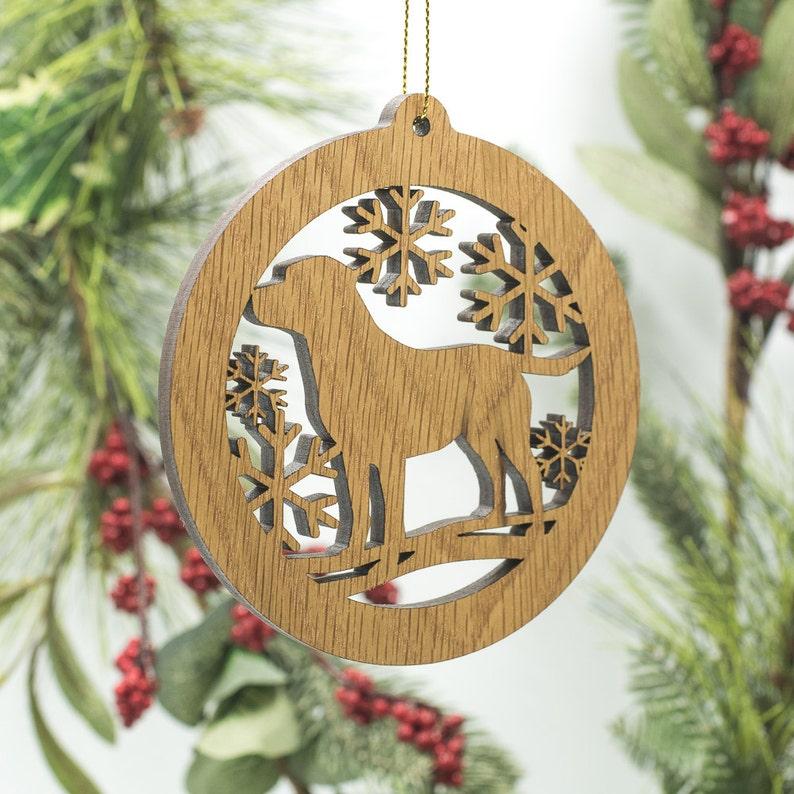 Labrador Christmas Wood Ornament  Lab Dog Silhouette Cut image 1