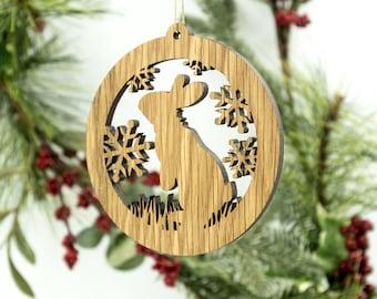 Rabbit Christmas Wood Ornament - Woodland Animal Silhouette Laser Cut Wooden Tree Decoration - White Oak Bunny Ornament - Wildlife Ornament
