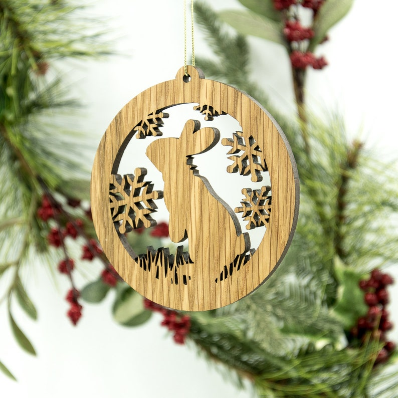 Rabbit Christmas Wood Ornament  Woodland Animal Silhouette Standard ornament