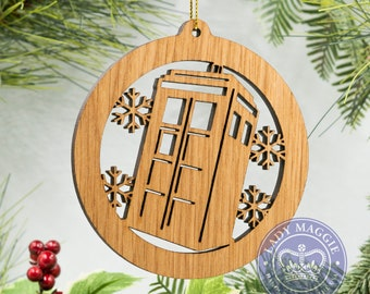 Doctor Who Flying Tardis Christmas Ornament Personalized Tree Decoration - Doctor Who Tardis Laser Cut Ornament - Dr Who Ornament TARDIS